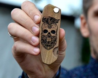 Man Personalized Gift Skull Beard Hair Comb Wooden Stag Party Gift for Husband Boyfriend Him Friend Brother Dad Beard kit Bday gift for Guy
