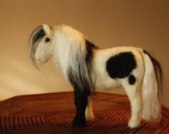 Needle felting horse, lovely pony, Sweet Shetland Pony, tiny funny pony, -black and white or palomino horse coat- for horse collectors