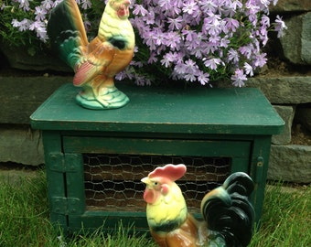 Majolica Glazed Hen and Rooster Set with Mini Wooden Chicken Coop