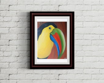 Tropical Toucan Oil painting print- Bright tropical bird portrait fine art print