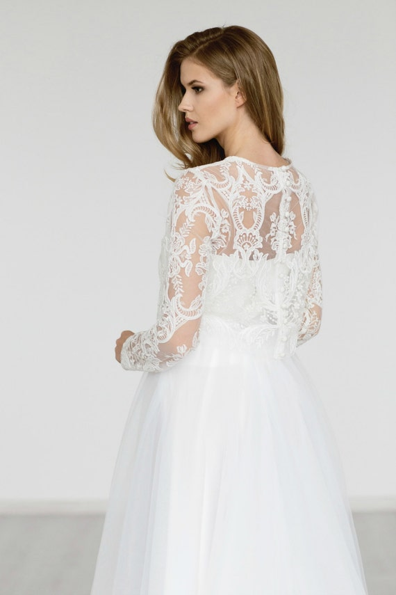 Wedding top long sleeve bridal lace top white ivory wedding for Long sleeve wedding dress topper