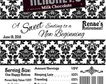 Printable Damask Retirement Party Candy Bar Wrappers 1.55 oz. Hershey's Chocolate Nestle Crunch Beach