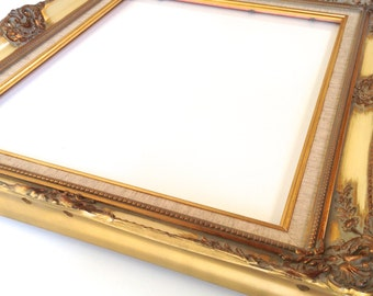 Beautiful Vintage Large Wooden Gold Gilded/Yellow Ornate Picture Frame - Made In Holland