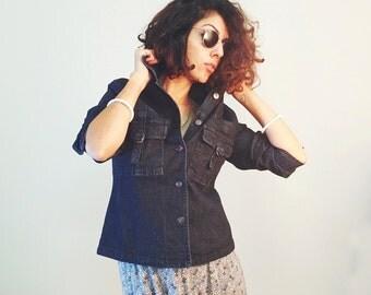 BLACK DENIM JACKET, Black jeans jacket, vintage denim jacket, 90s denim, 90s jacket, womens jacket, size S