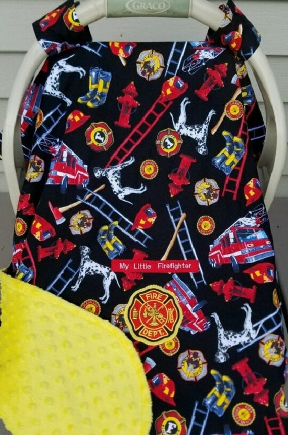 car seat canopy cover fire fighter trucks by mamasgotmecovered. Black Bedroom Furniture Sets. Home Design Ideas