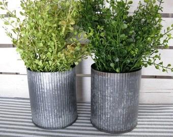 Corrugated Metal Container - Antique Metal Vase - Farmhouse Metal Bucket 4.5 x 5.5