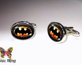 Batman Cufflinks Silver plated Oval cuff links 16mm x 21mm football photo under glass - Batman cufflinks