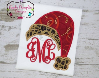 Santa Hat, Applique Design, Machine Embroidery, Christmas, Grinch, Boy, Girl, Elf, Reindeer, Snowman, Monogram, 4x4 5x7 6x10 7x11 9x9