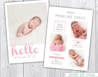 hello birth announcement, boy birth announcement, baby birth announcement, birth announcement, birth announcement template - INSTANT PSD