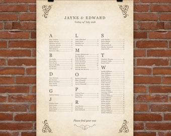 Storybook Personalised Wedding Seating Plan (printable download also available)