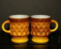Harvest Gold Coffee Mugs, Set of 2, Anchor Hocking, Fire King, Kimberly, 1970s, Yellow Brown, Ombre, Diamond Pattern, 8 ounce, Retro, Coffee