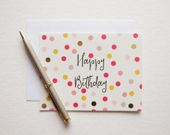 happy birthday card, birthday card, blank birthday card, gold foil birthday, bday card, modern birthday, blank card, cute birthday card
