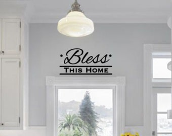 Bless This Home Vinyl Wall Decal - Wall Decor - Kitchen Wall Decal - Inspirational Wall Decal