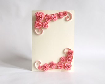 Paper Quilled Rose Card, Pink Rose Card, Paper Rose, Rose Quilling Card, Paper Quilled Rose, Birthday Card, Greeting Card, Paper Quilling