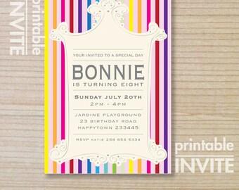kids invitation - girls invitation - printable invitation - stripes - rainbow - teenager invitation