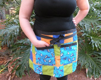 Penguin - Winter - Handmade - Patchwork - Half Apron (Orange, Green, Blue)