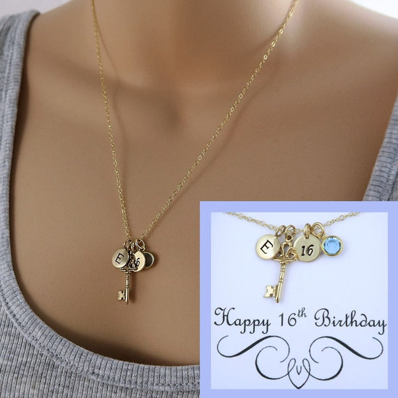 Personalized 16th Birthday Necklace Birthday Message Card