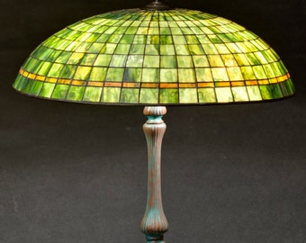 Green Lamp Shade, Stained Glass Lamp, Office Decor, Home Decor, Library Decor, Reading Lamp, Library Lights, Entryway Decor, Reading Light