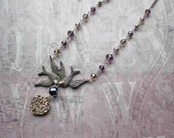 Vintage Assemblage Necklace, Bird Necklace, Bird Jewelry, Assemblage Jewelry, Boho Necklace, Upcycled, Woodland Jewelry, Romantic