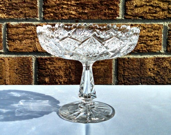 Antique EAPG Crystal Compote, Pinwheel and Hobstar, Sawtooth Rim, Early American Pattern Glass, Circa 1900s