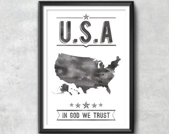 USA Typography Print, Typography Poster, USA Poster, usa Art, USA Gift, usa Decor, July 4th, 4th of July, Patriotic, America Print, America,
