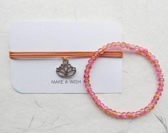 Wish bracelet, lotus bracelet, set of two bracelets