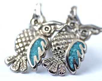 Owl Earrings with caribbean blue turquoise accents