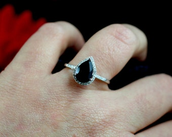 Black Spinel & Diamond Pear Halo Engagement Ring 14k White Yellow Rose Gold 2ct 10x7mm Ask about other Gems and Metals