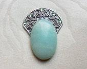Light Green Stone Cabochon in Silver Swirl Fan ATS Tribal Fusion Bindi - 02058