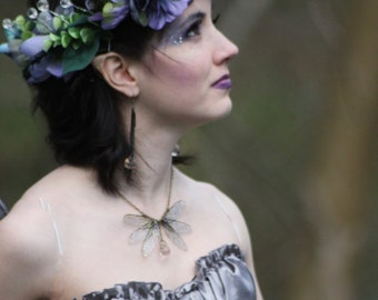 Wild Woodland Flower Fairy Queen/Pagan Flower Crown/Headdress