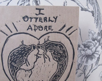 Valentine's Day Card, Otters, Otters Kissing, cute otters Linocut art, Linocut Card, Linocut Animals, Eco Card, 10% charity donation,