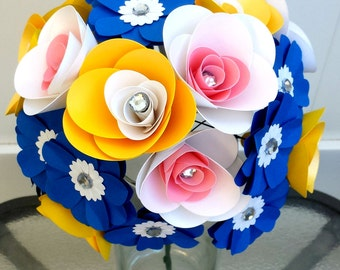 Handmade paper flower bouquet - yellow blue pink and white - daisies - gemstones - spring flowers