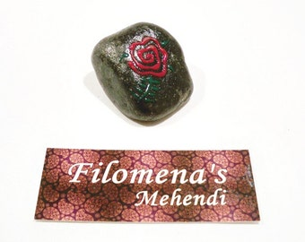 Stocking stuffer, Pink rose, Red rose stone, Black stone, Floral design, Henna stone, Flower stone, Pink rose stone, Pocket stone
