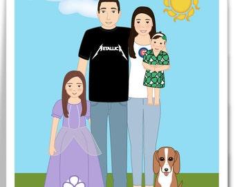 Custom Family Portrait - Cartoon Portrait - One of a Kind Gift Idea - Digital Printable
