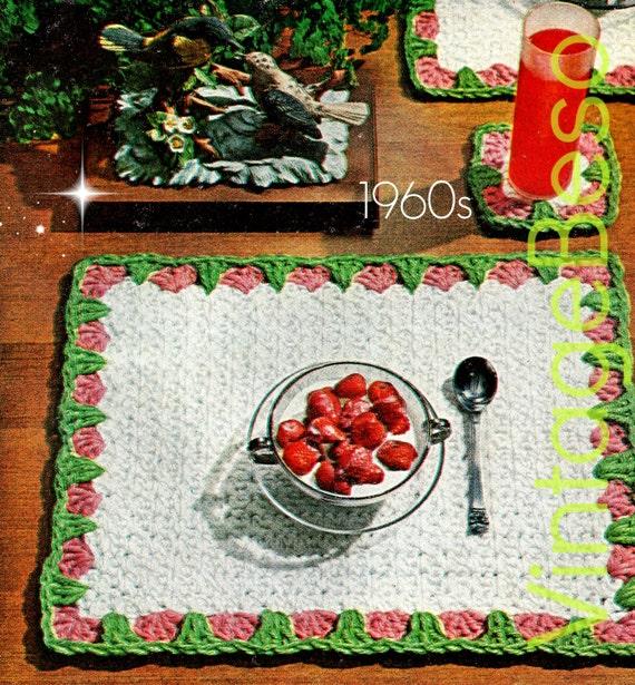 Easy crochet pattern retro 1960s strawberry mat and - Crochet mural vintage ...