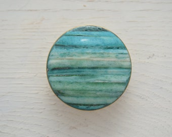 Gold Drawer Knobs with Teal Stone Inlay, Gold Drawer Pulls, Cabinet Knobs, Antique/Vintage Style, Teal Knobs, Gold Knobs, Turquoise Knobs