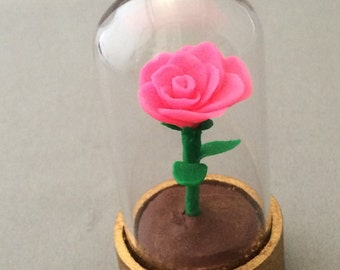 Bright Pink Beauty and the beast rose, rose in a glass dome, beauty and the beast rose, beauty and the beast wedding, bright pink rose, rose