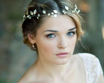 Silver leaf headband Silver leaf headpiece Leaf wedding crown Silver bridal vine Bridal headband Leaf wreath Wedding tiara Bridal tiara
