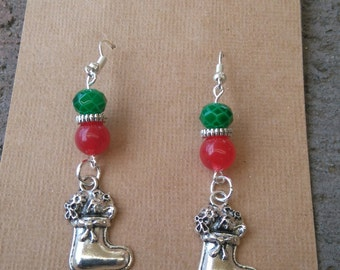 Red and Green Stocking Christmas Earrings