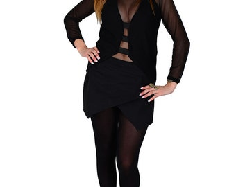 Black set of top with bands, short panths  and tulle blouse