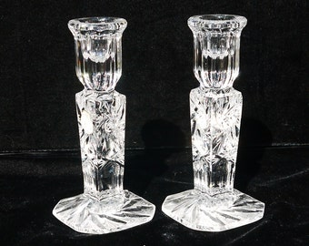 Pair Crystal Star Burst Candlestick Holders, Heavy weight Etched Leaded Crystal Candle Holders  Made in Poland, Crystal Home Decor