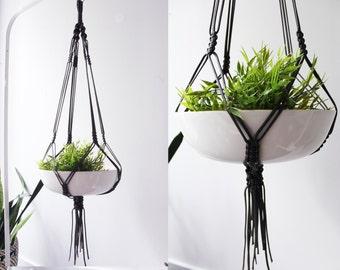 Large Macrame Plant Hanger, Macrame Pot Holder, Hanging Planter, Black, Grey Plant Holder, Modern Macrame, Christmas Gift for Women