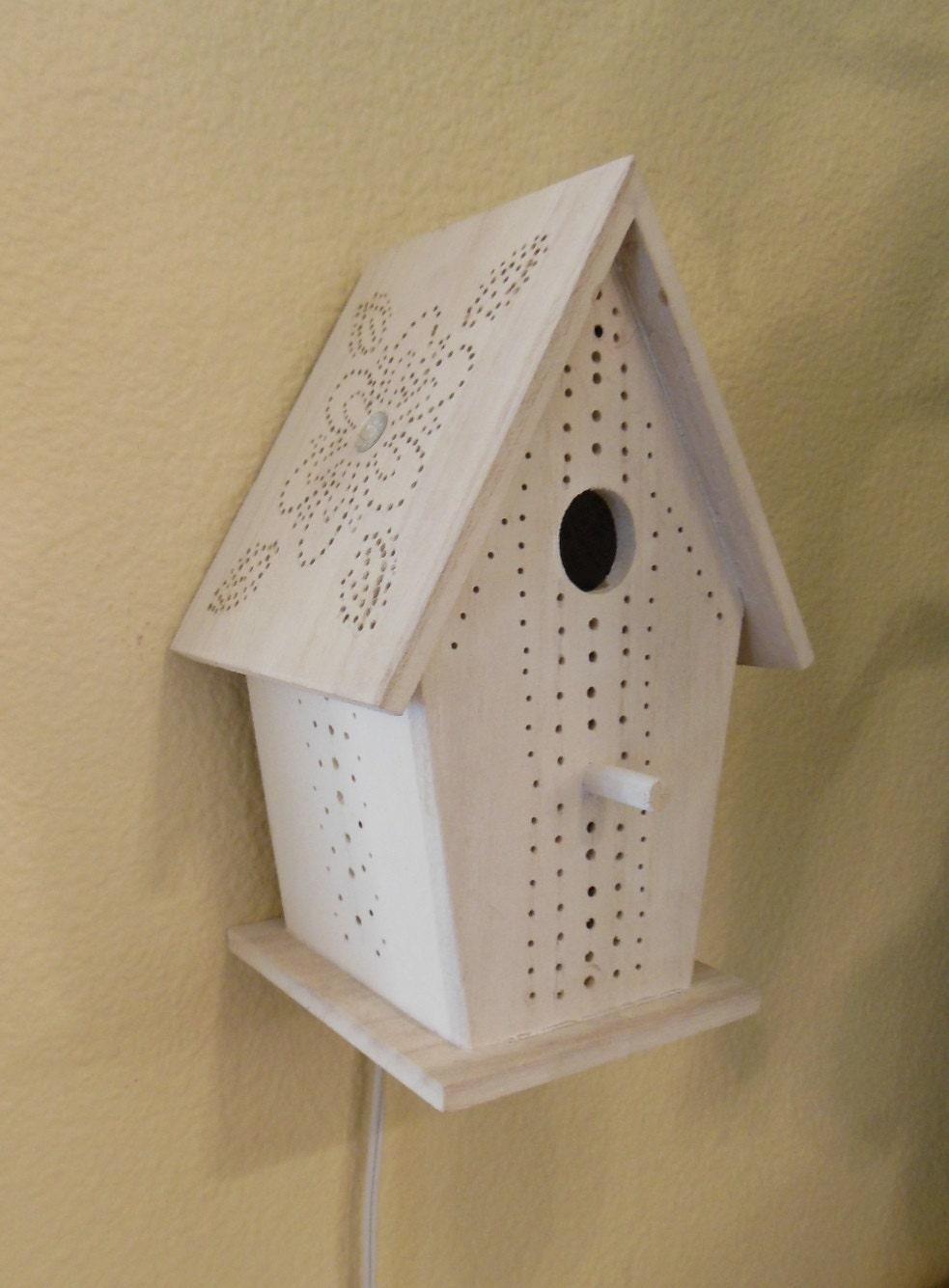 Bird house night light nursery lamp room light rustic - Birdhouse nightlight ...