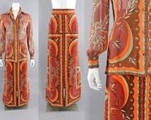 Vintage 1970's Emilio Pucci Orange Brown Velvet Skirt and Sheer Blouse Set