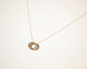14k Gold Circle Necklace - Solid Gold Circle Charm Necklace - 14k Real Gold Modern Necklace - Minimalist Gold Necklace - Dainty Gold Charm
