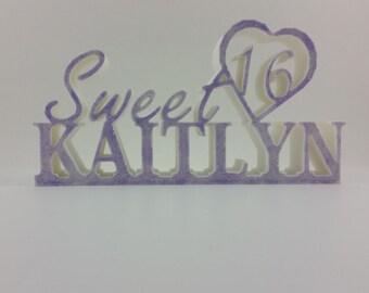 Sweet 16 name and heart keepsake and cake topper