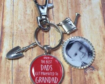 Grandad keyring keychain, The best Dads get promoted to Grandad, Grandad gift, Gardening
