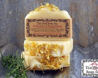 Calendula & Ylang Ylang Handmade Soap. 100% Natural with Shea and Cocoa Butters. Made in Australia.