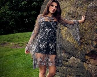 Prom Dress Long Sleeve Mini Black & Grey Boat Neck French Lace Party Dress Size UK 14