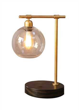glass gold wood table lamp glass shade table by reclaimedgoodsusa. Black Bedroom Furniture Sets. Home Design Ideas